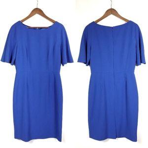 Katherine Kelly Blue Flutter Sleeve Sheath Dress